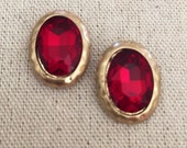 Crystal Hammered Drop Studs in Ruby