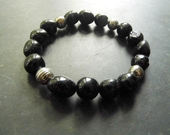 Bracelet, tourmaline, silver beads, silver, women