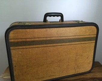 Vintage Tweed Stripped Two Tone JC Higgins Suitcase Luggage