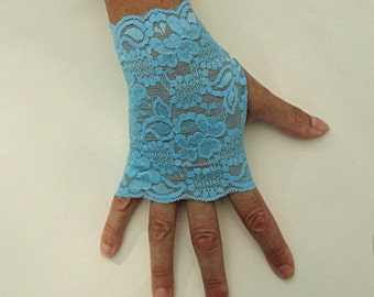 Turquoise Fingerless Gloves  - Aqua Blue Lace Gloves -  Stretch Lace Gloves