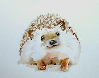 "Baby Hedgehog Original Watercolor Painting 8""x10"" / Nursery Art/ Wall Art/ Woodland Animal"