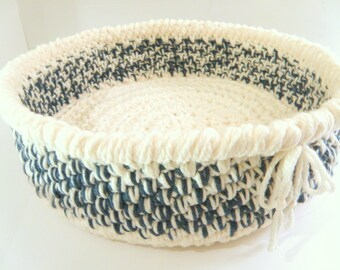 Crocheted Cat Beds, Soft Travel Pet Bed, Thick n Chunky Storage Basket for Magazines or Kitties, in Dark Teal Blue n Bone Yarn Durable Bed