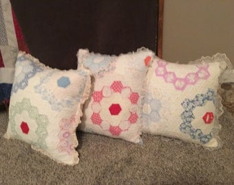 Grandma's Flower Garden Antique Quilt Pillows - buy one or all three