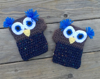 Ready to ship Crochet Owl Fingerless Gloves- size adult large