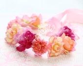 baby flower crown, peach flower crown, ivory floral crown, hot pink floral crown, peach floral headband, cream flower crown, flower headband