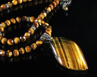 Tiger Eye Pendant Necklace, Sterling Silver, golden-brown gemstone, gemstone statement necklace, sterling bail, holiday gift for he, 3199