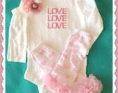 Valentine LOVE Embroidered Tee or Bodysuit - Pink Polka Dot Ruffled  Legwarmers and Skinny Bow Band