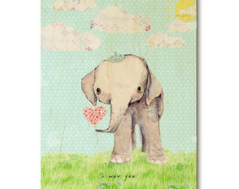 Elephant nursery art print on wood, cute, turquoise blue hues, heart balloon, patchwork clouds