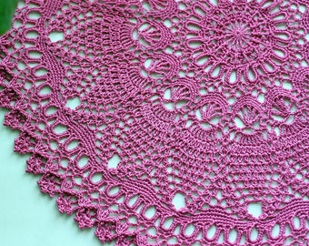 "Cowberry crochet doily Round 50 cm / 20"". Crocheted Doily."