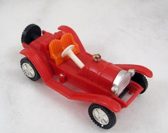Plastic Toy Car 1960, Model T Style Plastic Automobile, Red Toy Car Made in West Germany