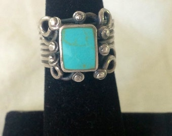 Handmade Artisan Sterling Silver & Turquoise Big Chunky Designer Ring Size 5.5