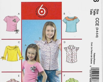 McCall's 4866 Size 3-6 Girls Pullover Top Sewing Pattern, UNCUT