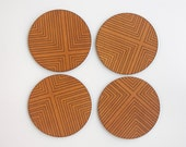 New! Four Corners Engraved Leather Coasters - Set of Four