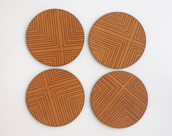 Four Corners Engraved Leather Coasters - Set of Four
