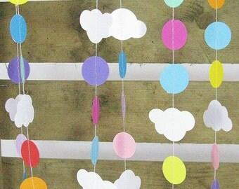 Rainbow Cloud Garland 10ft Long - Rainbow Party Decor, Cloud Party Decor, Nursery Decor, Rainbow Garland, Cloud Garland