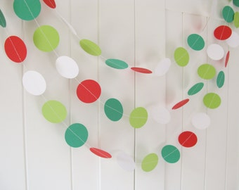 Christmas Garland Approx 10ft Long, Christmas Decor, Bunting, Photo Prop, Red, White, Green, Xmas Decoration
