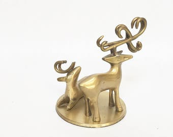 Vintage Brass Deer Antlers Candleholder Gold Gleaming  Modern Reindeer Hollywood Regency Eclectic Home Decor Year Round Hunter Mantle Table