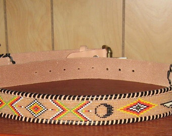 "SALE- Beaded Leather Belt / Native American / Southwestern- Beaded Leather Belt-36""-43"""