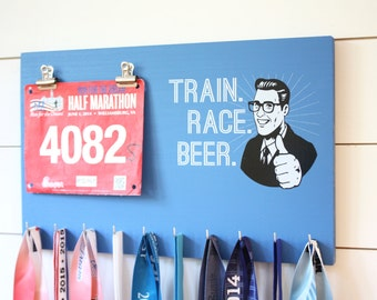Running Medal Bib Holder Train Race Beer - Medal Holder, Medal Rack, Medal Display, Race Bib Display, Race Bib Holder
