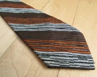 1960s Mid Century Modern Striped Mens Skinny Necktie