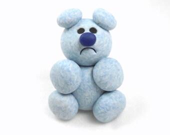 Grumpy Teddy Bear Sculpture, Miniature Handmade Polymer Clay Animal Figurine
