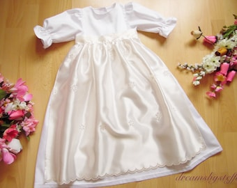 Christening gown embroidered apron