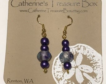 Handmade Purple Art Glass Bead and Purple Glass Pearls Dangle Earrings on Gold Plated French Hook Ear Wires