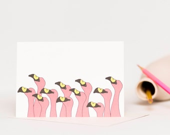 Pink Flamingo Flock - Flamingo Invitation - Card for Bird Lover - Just Because Card - A6 Blank Card - Funny Card - Greetings Card UK
