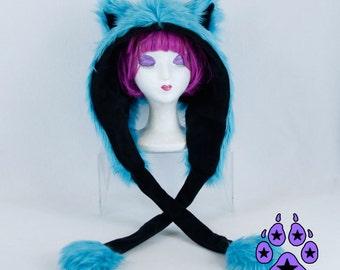 Cat Puffet Hood That Squeeks  u choose color theme scoodie fox Scarf Hat warm goth handmade snowboard mens womens 1885