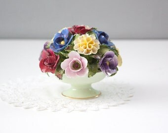 Vintage Denton Hand Modelled Flower Bouquet, Bone China