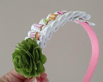 Pleated headband - Cupcakes
