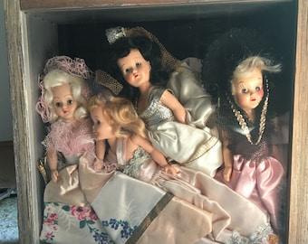 Beautiful vintage doll shadow box