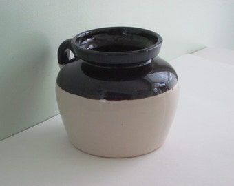 Vintage 2-Tone Brown Stoneware Crock or Bean Pot