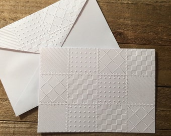 Quilt Block White Embossed Note Cards, White Quilt Cards, Gift For Quilters,  Quilt Stationery Set, Quilt Card, Quilt Block Card, Quilted