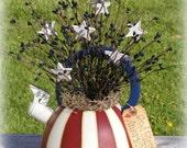 Handpainted Tea Kettle Americana Decor