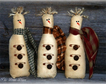 Primitive Snowman Bowl Fillers ~ Primitive Snowman Tucks ~ Primitive Snowman Ornies ~ Snowman Decor ~ Winter Decor ~ Christmas Decor