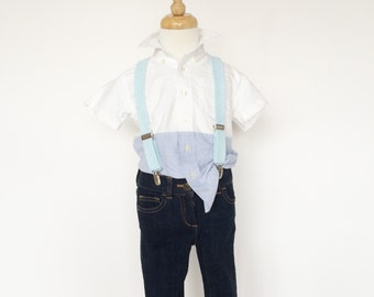 Blue and Green Seersucker Suspenders