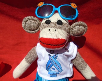 Beach Surfer Boy/Dude Classic Brown Sock Monkey Doll