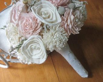 Sola Bouquet, Sola Pale Pink and cream Bouquet, Vintage Bouquet, Alternative, keepsake Bouquet, Sola flowers, Wood Boquet