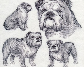 English Bulldog Dog Embroidered Quilt Block Square Dog Sketch