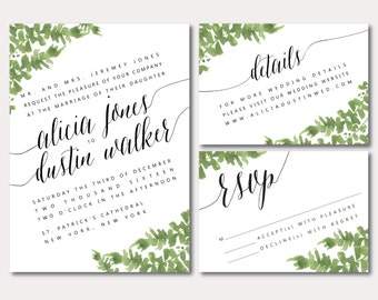 Printable Wedding Invitation Suite - Botanical Minimalist Slant - Watercolored Leaves