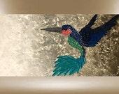 original painting hummingbird textured art bird garden 48x24 FREE SHIP