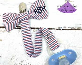 Baby Gift, Red White and Blue Pacifier Clip, Monogrammed Bow Tie Pacifier Clip, Paci Clip, Baby Boy Gift, Gift for Baby Shower, Ole Miss
