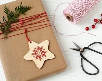 DIY Kit // Cross Stitch Ornament // Scandinavian Inspired Star// Christmas Ornament