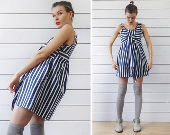 Vintage blue white nautical striped full balloon summer mini dress S-M