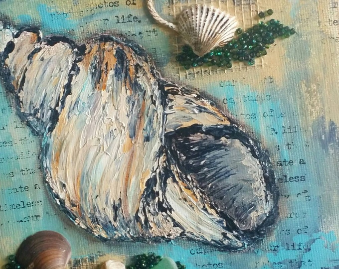 "Seashell Canvas Art | Conch Shell Painting | Ocean Art | Beach Decor | 6x6 | ""Beachcombed"" Series No.3 