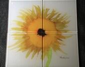 "Glass Tile or Coaster - Sunflower Mosaic - 4 - 4.25"" x 4.25"" Tiles"
