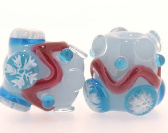 "handmade Icy Lampwork Glass Beads set 2PCS ""Candy Nugget"" A13 SRA Shirley"
