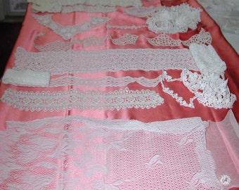 No. 100 Vintage Miscellaneous Lot of Cotton Laces; 14 Pieces, Excellent, (LOT 1)