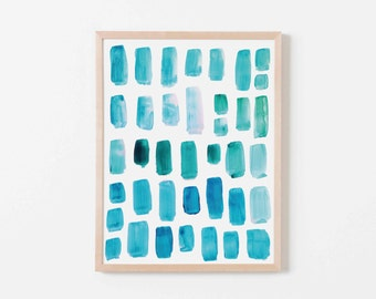 Aquamarine Watercolor Mosaic Nursery Art. Nursery Wall Art. Nursery Prints. Nursery Decor. Boy Wall Art. Aqua Watercolor Art. Teal Wall Art.